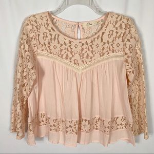 Elodie Peach 3/4 Sleeve Floral Lace Crop Top Sz M